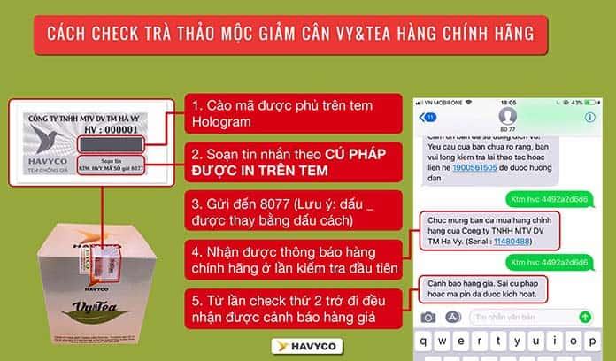 cach check tra vy tea chinh hang